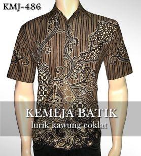 kemeja batik kantor pria modern lengan pendek motif LURIK KAWUNG COKLAT