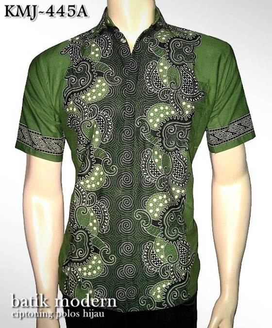 batik kantor modern elegan murah motif ciptoning hijau kmj-445a